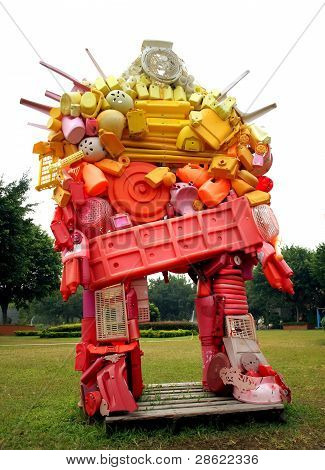 Sculpture Created From Plastic Waste Products