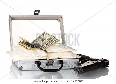Cocaine with money and gun in a suitcase isolated on white