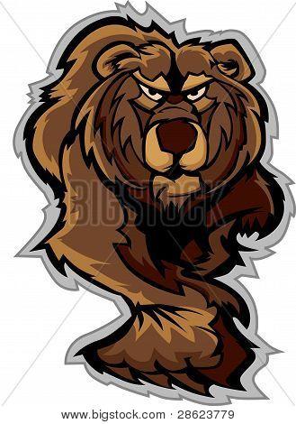 Cuerpo de la mascota del oso grizzly rondando con patas y garras