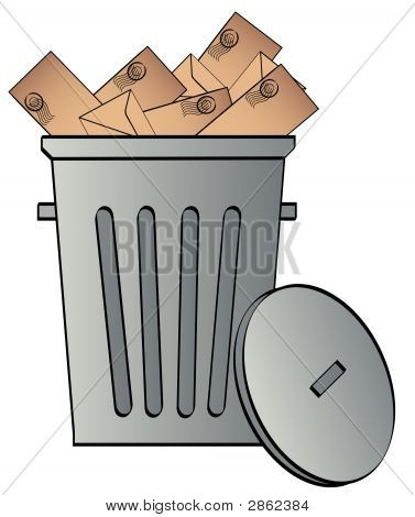 Garbage Can W Envelopes