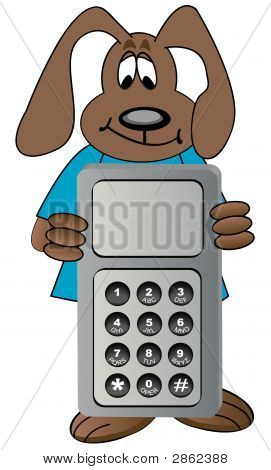 Dog Cartoon Holding Cell Phone