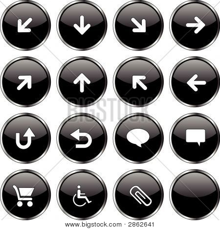 Web Icon Set  (16 Black Buttons)