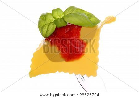 italian raviolo whit tomato sausages end basil