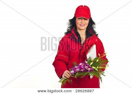 Smiling Woman Delivering Flowers