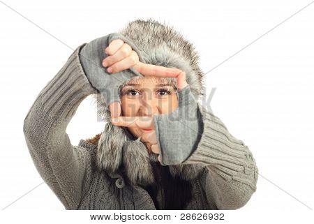 Winter Woman Framing Her Eyes