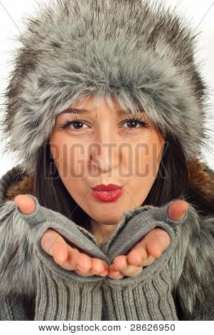 Beauty Winter Woman Blowing