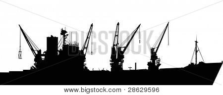 illustration with big industrial ship