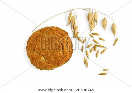 Oatmeal Cookies With A Stem Of Oats And Grains