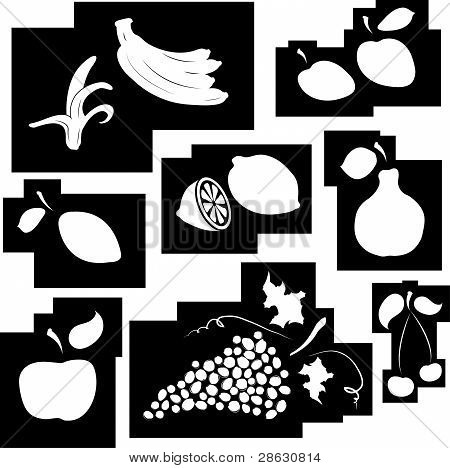 Fruit Set In Black And White. Design Element