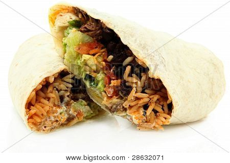 Sliced Burrito On White Background