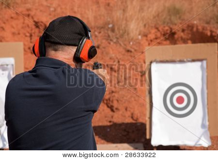 Man shooting at a target