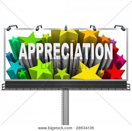 Una cartelera al aire libre comunicaciones aprecio y reconocimiento por un logro excepcional y