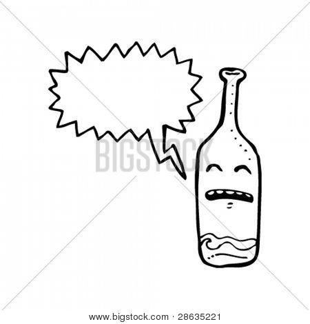 empty wine bottle cartoon character with speech bubble