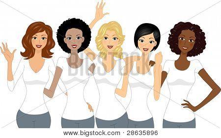 Ilustración de las niñas que se celebra el día internacional de la mujer