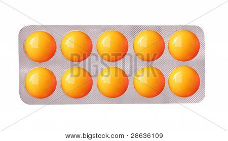 Colorful Medicinal Tablet Strip On White