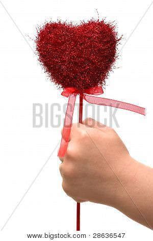 Child's Hand With A Red Heart. Child's Conception Of Love