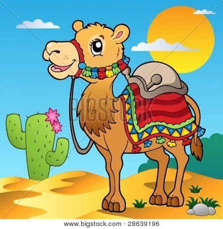 Cena do deserto com camelo - ilustração vetorial.