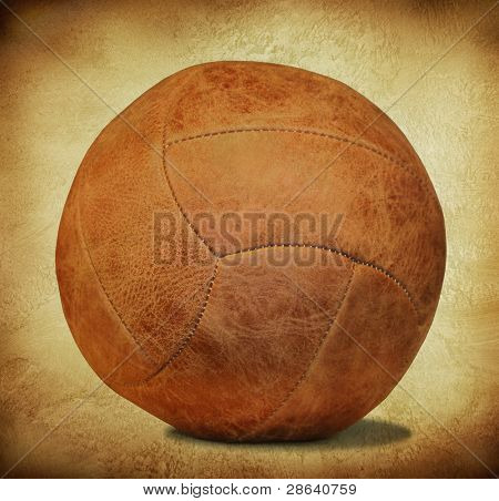 brown leather soccer ball in retro style