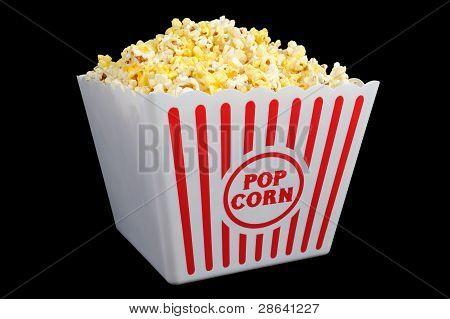 Large Bucket of Popcorn on Black