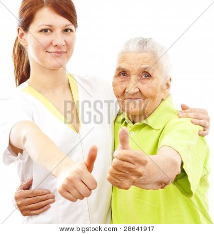 Arzt und Patient showing Thumbs up