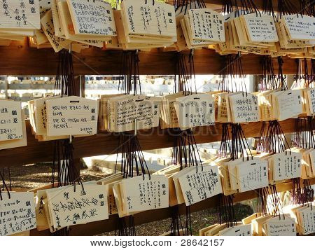 Wooden prayer tablets at a Shinto temple in Japan