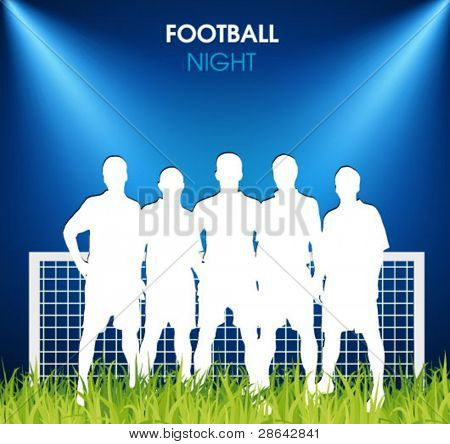 soccer team on the grass in the spotlight