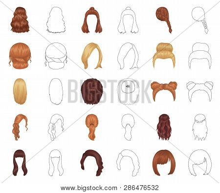 Female Hairstyle Cartoon Outline Icons