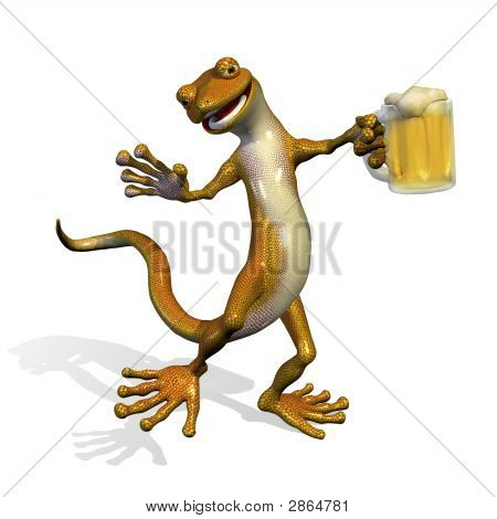 Gecko With Beer
