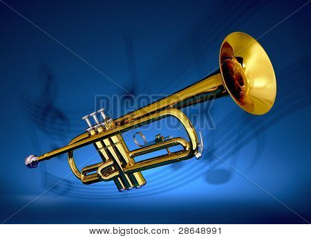 Brass trumpet with musical backdrop