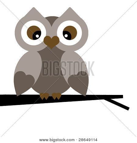 Vector Winter Owl on a Branch