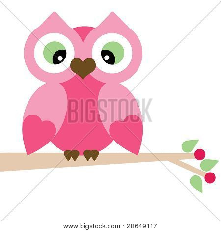 Vector Spring Pink Owl on a Branch