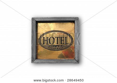 Hotel Wooden Plaque On The Wall