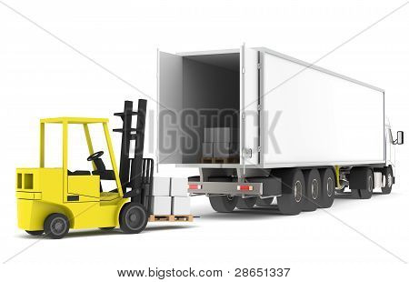 Loading The Truck. Forklift Loading A Trailer.  Part Of A Blue And Yellow Warehouse And Logistics Se