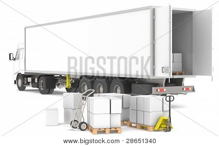 Distribution. Open Trailer With Pallets, Boxes And Trucks. Part Of A Blue And Yellow Warehouse And L