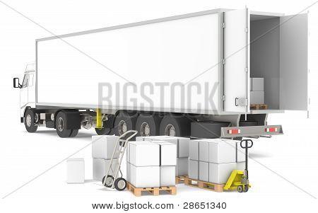 Distribución. Remolque abierto con palets, cajas y camiones. Parte de un almacén azul y amarillo y L