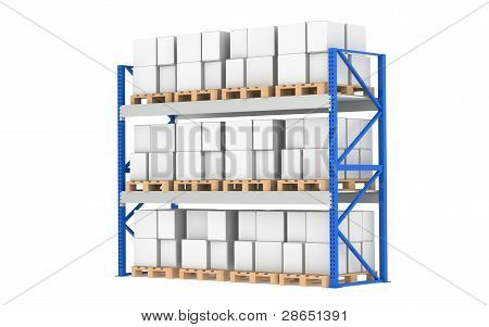 Warehouse Shelves. Pallet Rack, Full. Isolated On White. Part Of A Blue Warehouse And Logistics Seri
