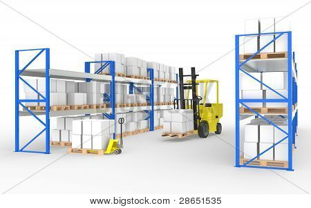 Forklift Truck, Hand Truck And Shelves.part Of A Blue And Yellow Warehouse And Logistics Series