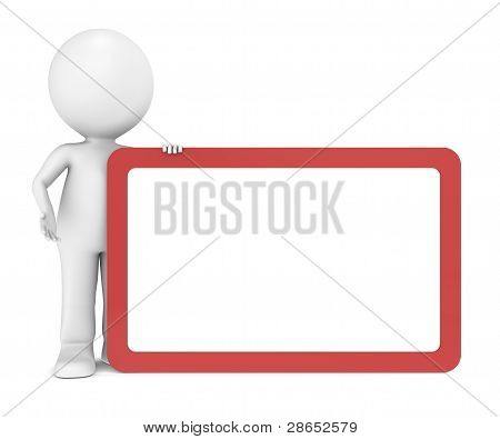 3D Human Character With A Blank Board For Copy Space.