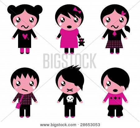 Emo Kids Cute Collection Isolated On White