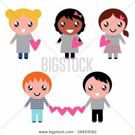 Cute Kids Collection With Heart Shapes Isolated On White