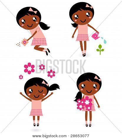 Little Cute Gardener Girl In Various Poses Isolated On White
