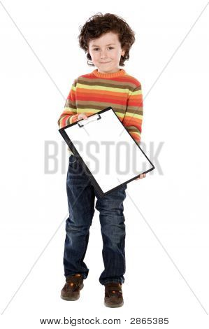 Small Boy With Clipboard
