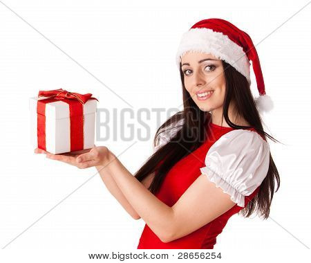 Christmas Girl With Gift.