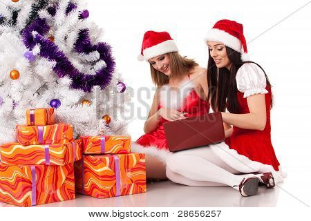 Christmas Girlfriends With Laptop.