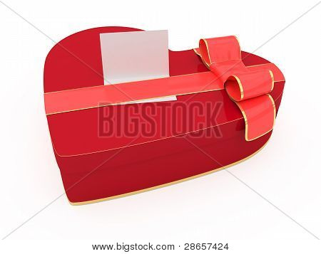 Isolated Valentines Day Gift Box With Blank Card