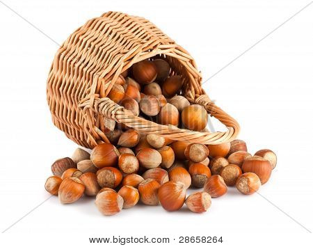 Wicker Basket And Hazelnuts