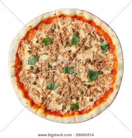 Pizza con alcaparras y atún