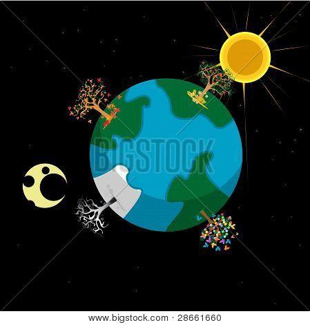 Earth and Seasons Cartoon Illustration
