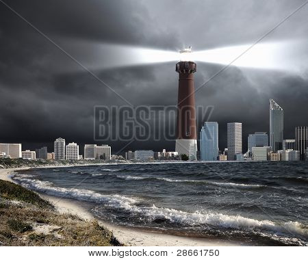 Lighthouse with a beam of light