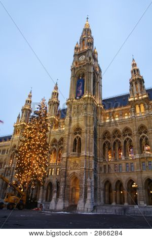 City Hall Of Vienna With Christmas Tree In Front
